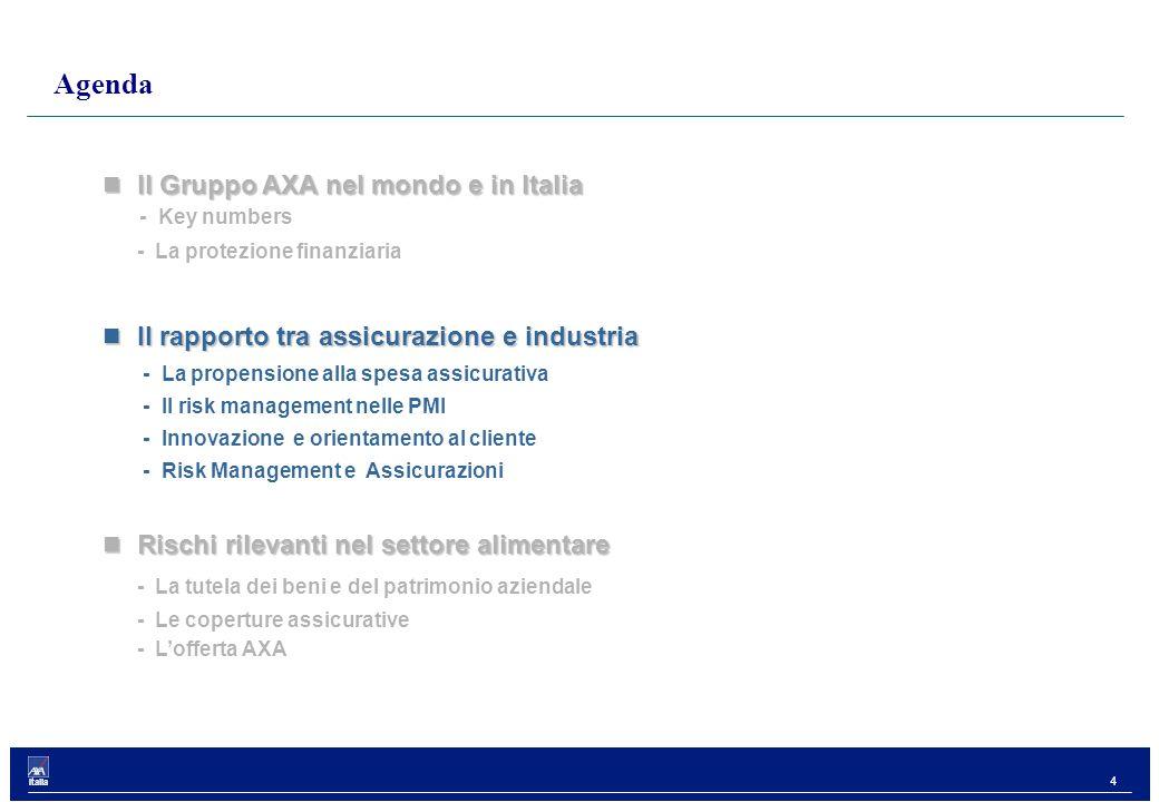4 Italia Il Gruppo AXA nel mondo e in Italia Il Gruppo AXA nel mondo e in Italia - Key numbers - La protezione finanziaria Il rapporto tra assicurazione e industria Il rapporto tra assicurazione e industria - La propensione alla spesa assicurativa - Il risk management nelle PMI - Innovazione e orientamento al cliente - Risk Management e Assicurazioni Rischi rilevanti nel settore alimentare Rischi rilevanti nel settore alimentare - La tutela dei beni e del patrimonio aziendale - Le coperture assicurative - L'offerta AXA Agenda