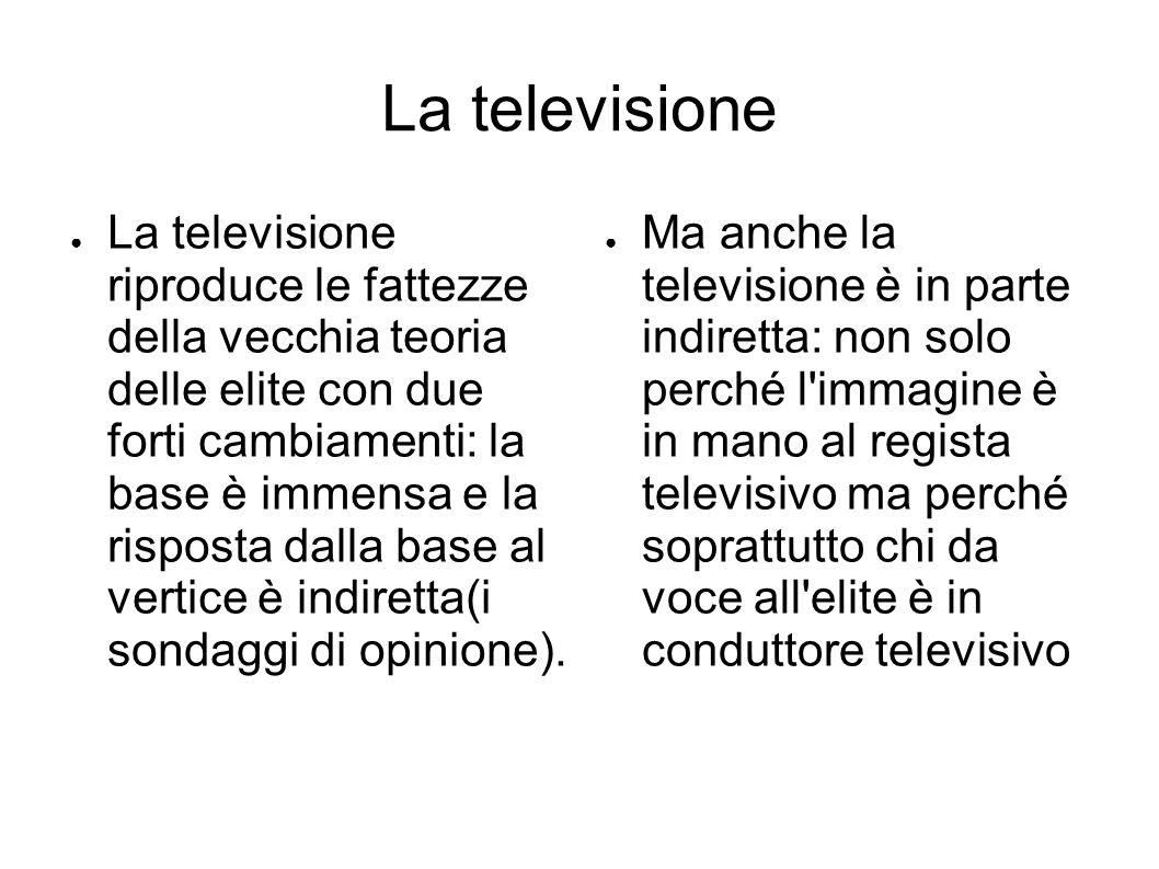La televisione ● La televisione riproduce le fattezze della vecchia teoria delle elite con due forti cambiamenti: la base è immensa e la risposta dalla base al vertice è indiretta(i sondaggi di opinione).