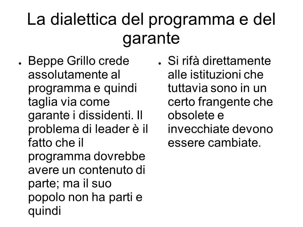 La dialettica del programma e del garante ● Beppe Grillo crede assolutamente al programma e quindi taglia via come garante i dissidenti.