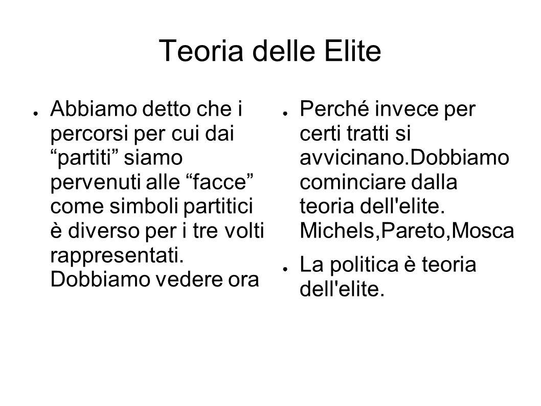 Teoria delle Elite ● Abbiamo detto che i percorsi per cui dai partiti siamo pervenuti alle facce come simboli partitici è diverso per i tre volti rappresentati.