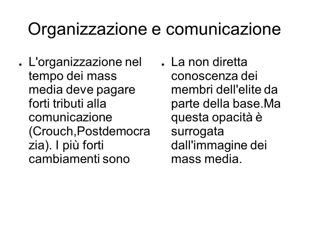 Organizzazione e comunicazione ● L organizzazione nel tempo dei mass media deve pagare forti tributi alla comunicazione (Crouch,Postdemocra zia).