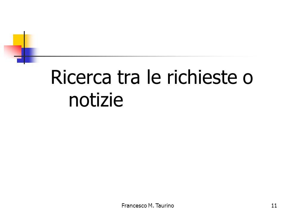 Francesco M. Taurino 11 Ricerca tra le richieste o notizie