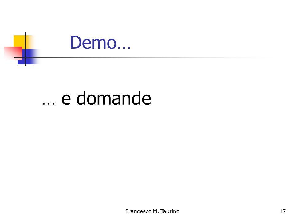 Francesco M. Taurino 17 Demo… … e domande
