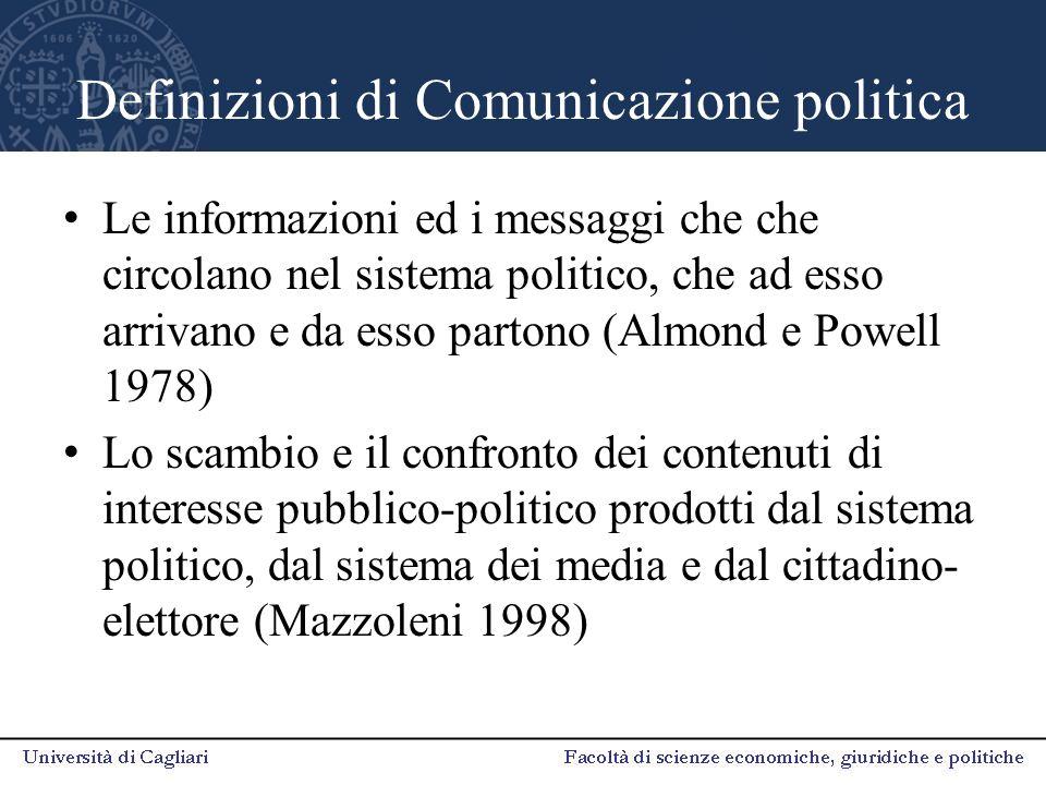 Definizioni di Comunicazione politica Le informazioni ed i messaggi che che circolano nel sistema politico, che ad esso arrivano e da esso partono (Almond e Powell 1978) Lo scambio e il confronto dei contenuti di interesse pubblico-politico prodotti dal sistema politico, dal sistema dei media e dal cittadino- elettore (Mazzoleni 1998)