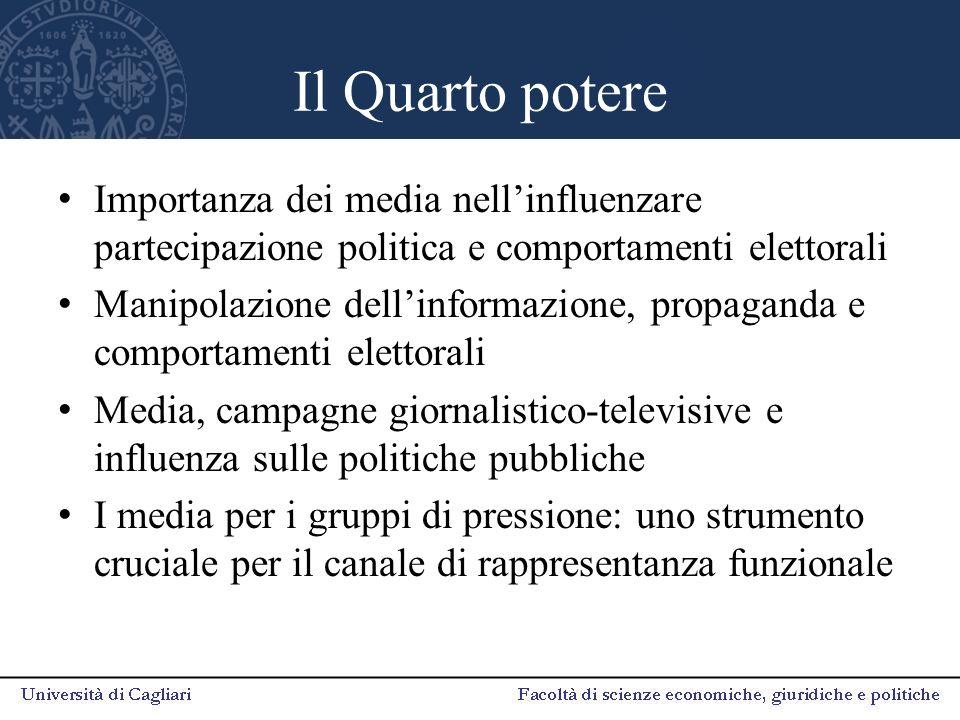 Il Quarto potere Importanza dei media nell'influenzare partecipazione politica e comportamenti elettorali Manipolazione dell'informazione, propaganda