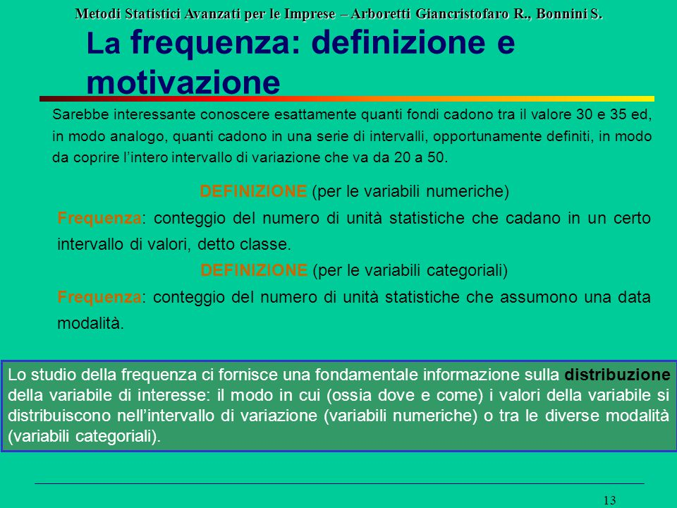 Metodi Statistici Avanzati per le Imprese – Arboretti Giancristofaro R., Bonnini S. 13 La frequenza: definizione e motivazione Lo studio della frequen