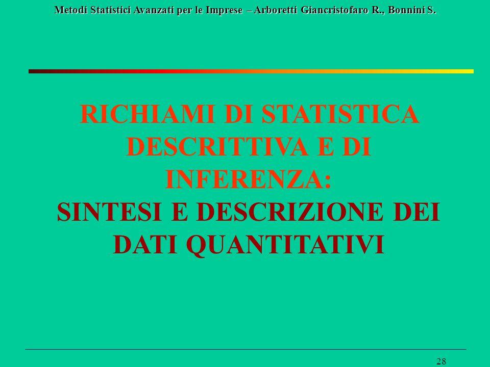 Metodi Statistici Avanzati per le Imprese – Arboretti Giancristofaro R., Bonnini S. 28 RICHIAMI DI STATISTICA DESCRITTIVA E DI INFERENZA: SINTESI E DE