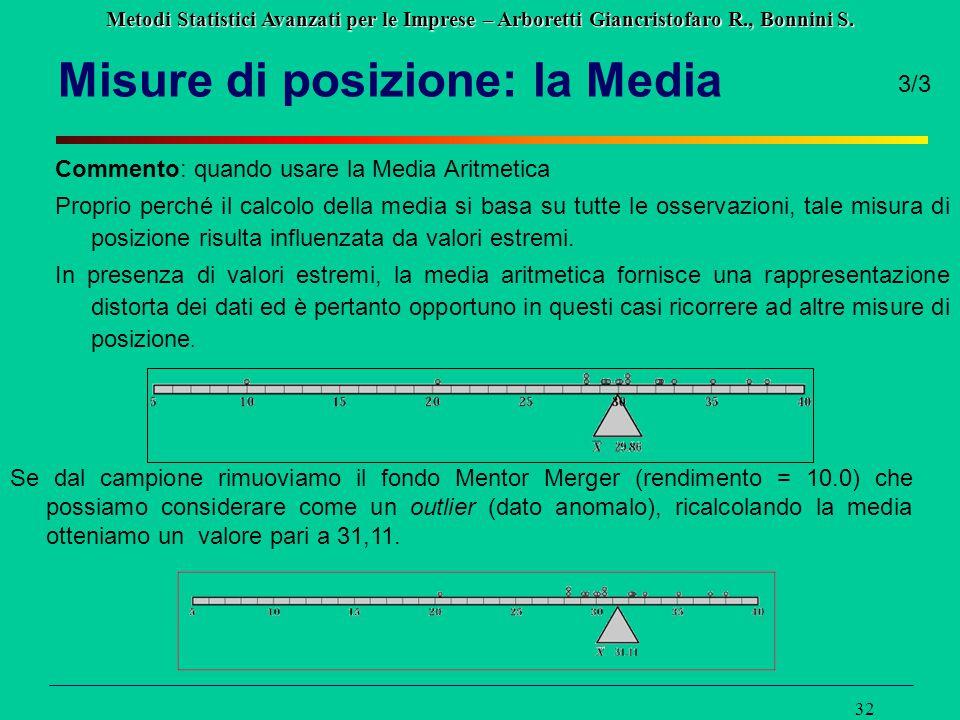 Metodi Statistici Avanzati per le Imprese – Arboretti Giancristofaro R., Bonnini S. 32 Misure di posizione: la Media Commento: quando usare la Media A