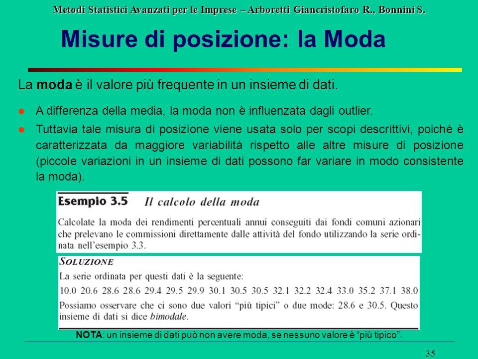 Metodi Statistici Avanzati per le Imprese – Arboretti Giancristofaro R., Bonnini S. 35 Misure di posizione: la Moda La moda è il valore più frequente