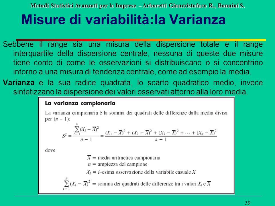 Metodi Statistici Avanzati per le Imprese – Arboretti Giancristofaro R., Bonnini S. 39 Misure di variabilità:la Varianza Sebbene il range sia una misu