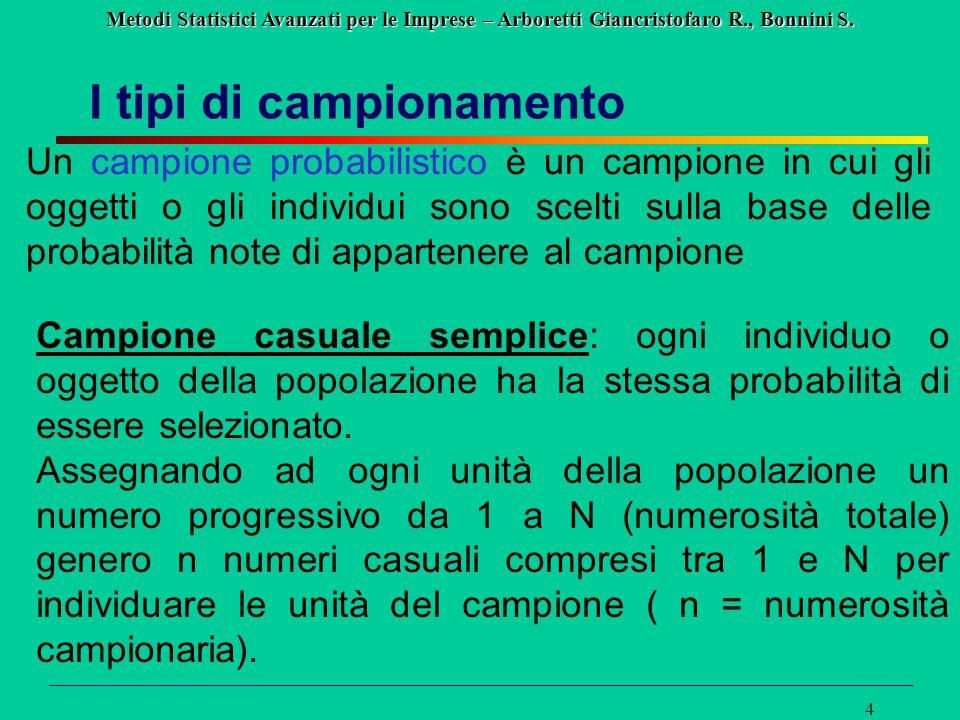 Metodi Statistici Avanzati per le Imprese – Arboretti Giancristofaro R., Bonnini S. 4 I tipi di campionamento Un campione probabilistico è un campione