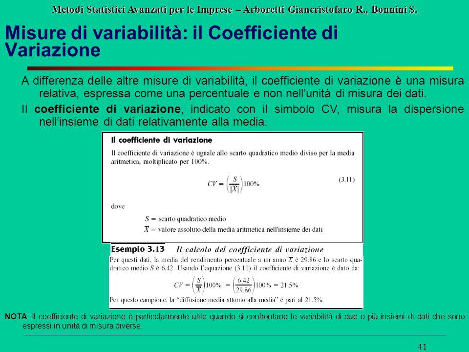 Metodi Statistici Avanzati per le Imprese – Arboretti Giancristofaro R., Bonnini S. 41 Misure di variabilità: il Coefficiente di Variazione A differen