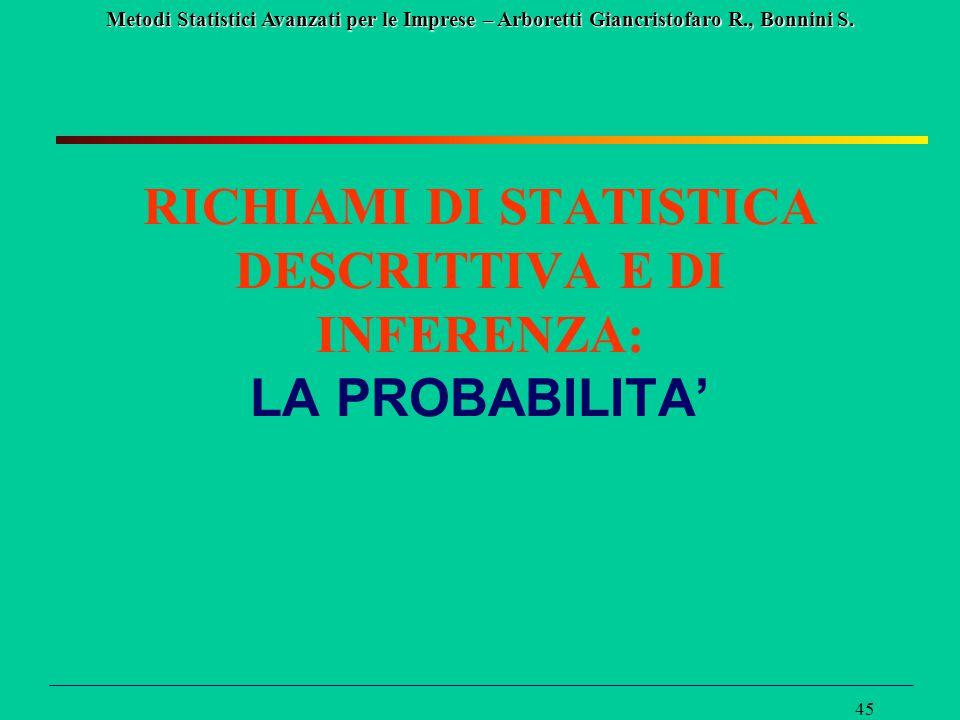 Metodi Statistici Avanzati per le Imprese – Arboretti Giancristofaro R., Bonnini S. 45 RICHIAMI DI STATISTICA DESCRITTIVA E DI INFERENZA: LA PROBABILI