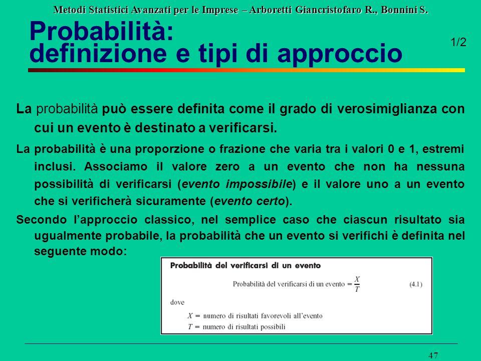 Metodi Statistici Avanzati per le Imprese – Arboretti Giancristofaro R., Bonnini S. 47 Probabilità: definizione e tipi di approccio La probabilità può