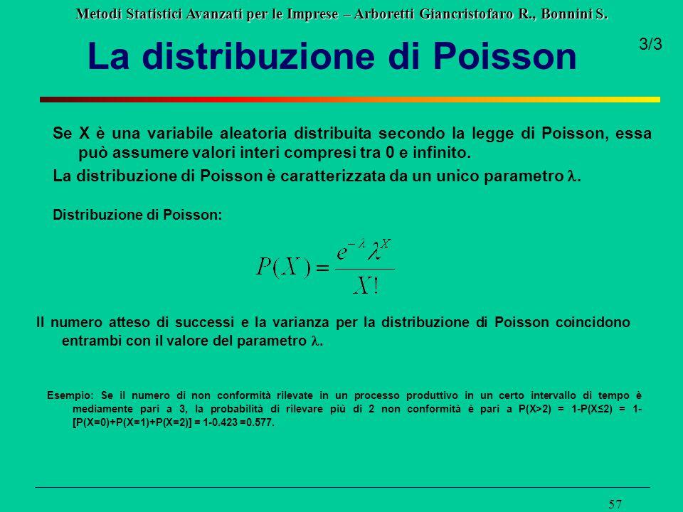Metodi Statistici Avanzati per le Imprese – Arboretti Giancristofaro R., Bonnini S. 57 La distribuzione di Poisson Se X è una variabile aleatoria dist