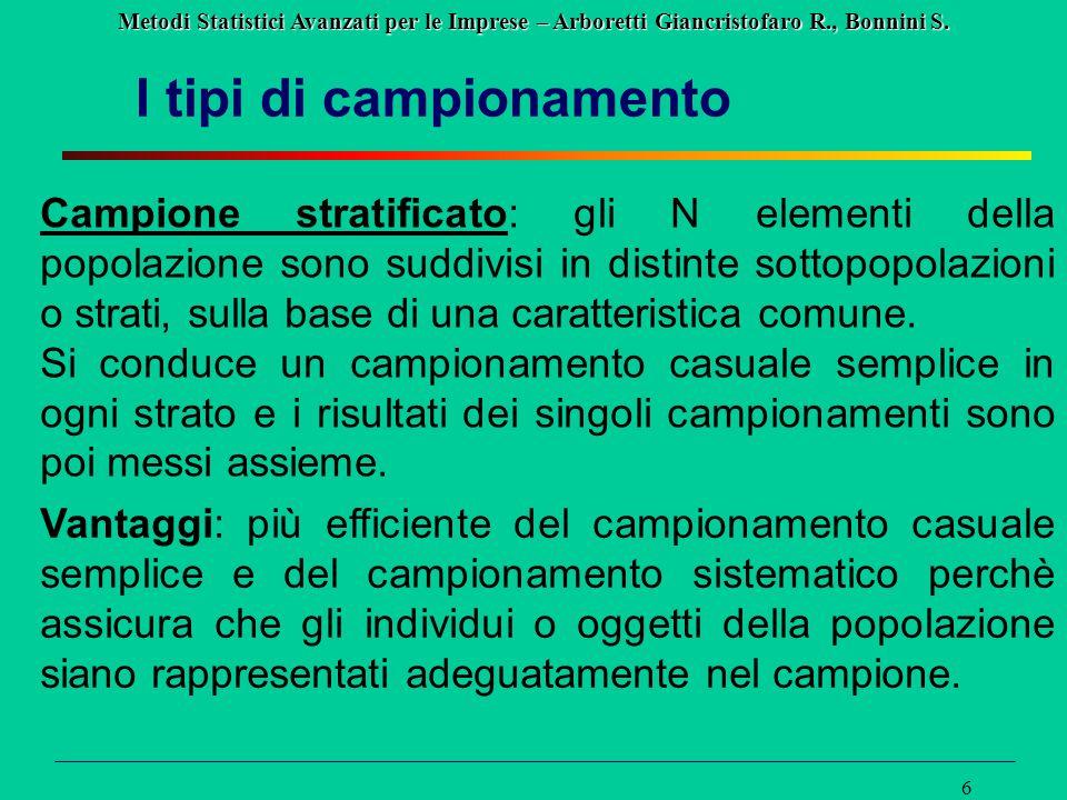 Metodi Statistici Avanzati per le Imprese – Arboretti Giancristofaro R., Bonnini S. 6 I tipi di campionamento Campione stratificato: gli N elementi de