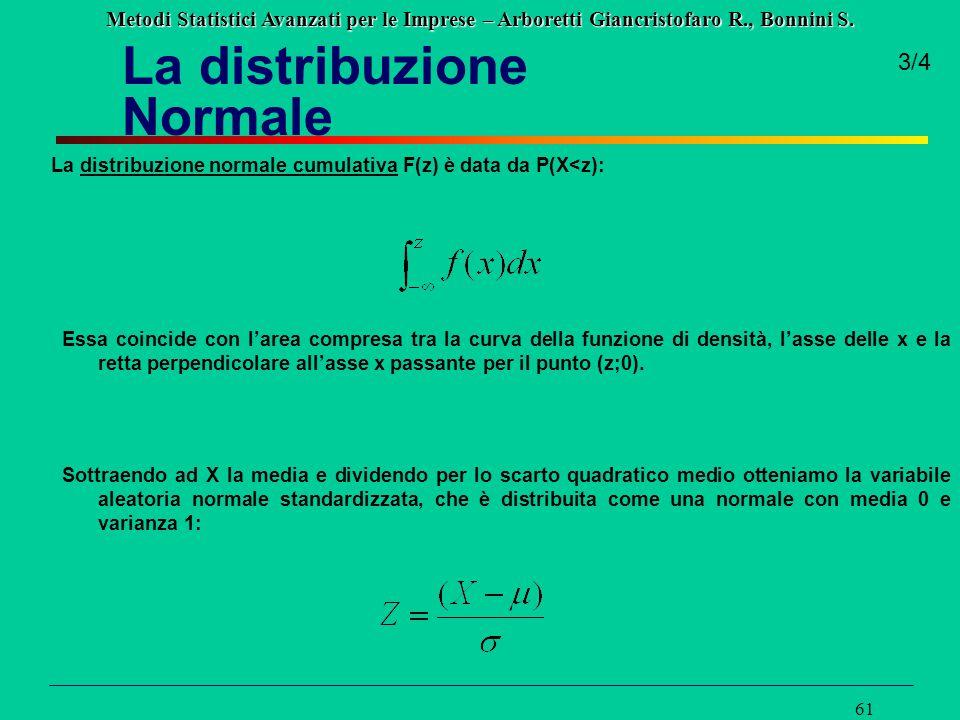 Metodi Statistici Avanzati per le Imprese – Arboretti Giancristofaro R., Bonnini S. 61 3/4 La distribuzione normale cumulativa F(z) è data da P(X<z):