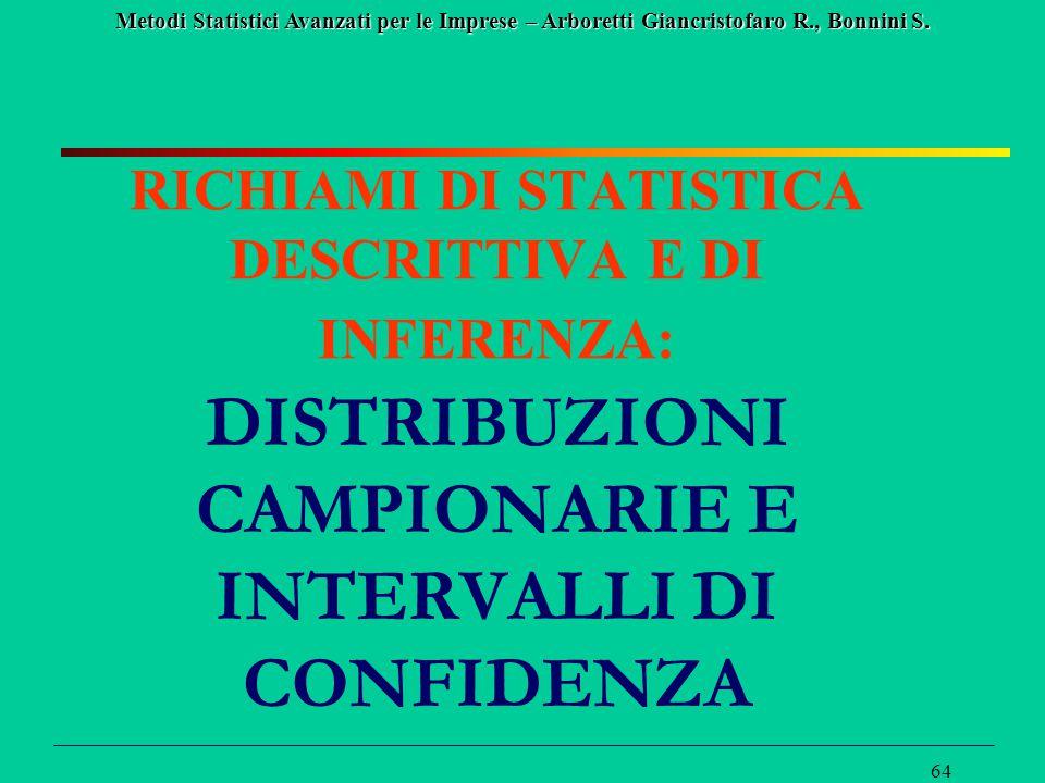 Metodi Statistici Avanzati per le Imprese – Arboretti Giancristofaro R., Bonnini S. 64 RICHIAMI DI STATISTICA DESCRITTIVA E DI INFERENZA: DISTRIBUZION