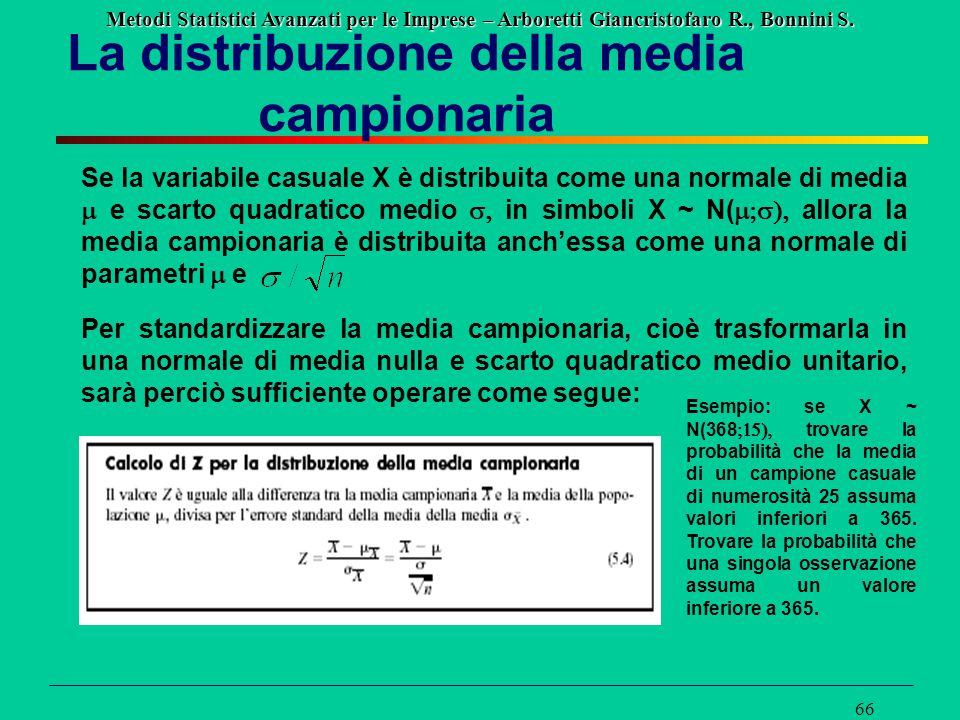 Metodi Statistici Avanzati per le Imprese – Arboretti Giancristofaro R., Bonnini S. 66 La distribuzione della media campionaria Se la variabile casual