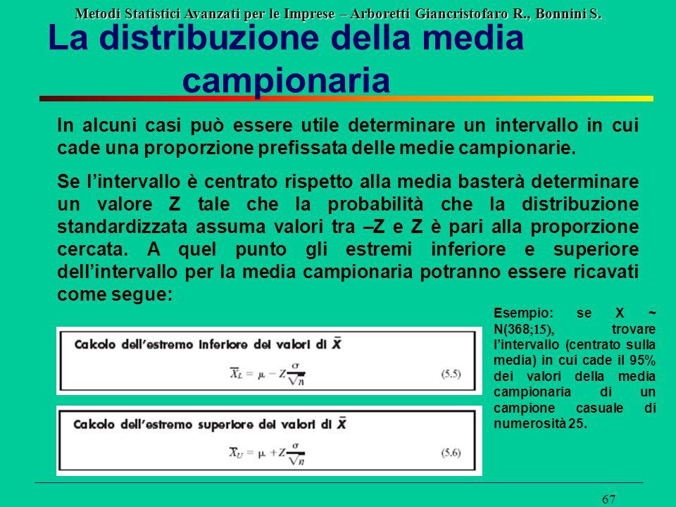 Metodi Statistici Avanzati per le Imprese – Arboretti Giancristofaro R., Bonnini S. 67 La distribuzione della media campionaria In alcuni casi può ess