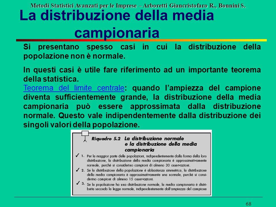 Metodi Statistici Avanzati per le Imprese – Arboretti Giancristofaro R., Bonnini S. 68 La distribuzione della media campionaria Si presentano spesso c