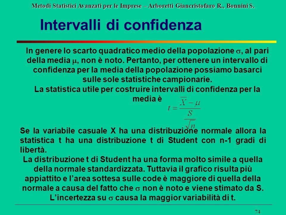 Metodi Statistici Avanzati per le Imprese – Arboretti Giancristofaro R., Bonnini S. 74 Intervalli di confidenza In genere lo scarto quadratico medio d