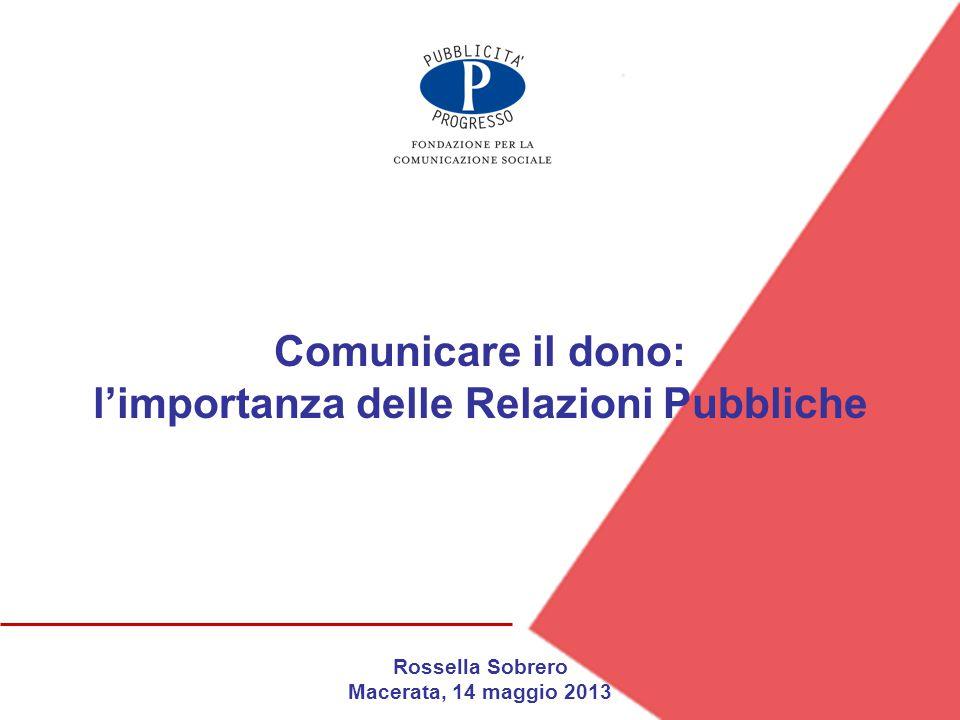 Rossella Sobrero Macerata, 14 maggio 2013 Comunicare il dono: l'importanza delle Relazioni Pubbliche
