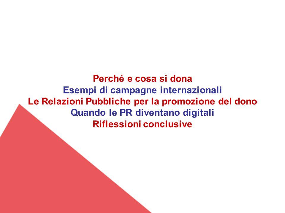 Perché e cosa si dona Esempi di campagne internazionali Le Relazioni Pubbliche per la promozione del dono Quando le PR diventano digitali Riflessioni conclusive