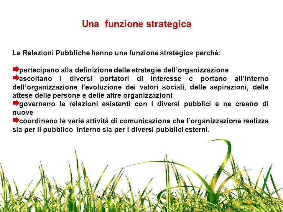 Una funzione strategica Le Relazioni Pubbliche hanno una funzione strategica perché:  partecipano alla definizione delle strategie dell'organizzazion