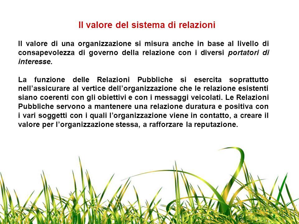 Il valore del sistema di relazioni Il valore di una organizzazione si misura anche in base al livello di consapevolezza di governo della relazione con i diversi portatori di interesse.