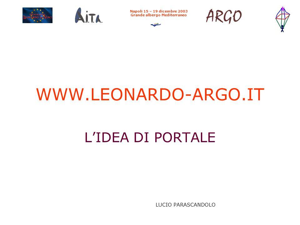 WWW.LEONARDO-ARGO.IT L'IDEA DI PORTALE Napoli 15 – 19 dicembre 2003 Grande albergo Mediterraneo LUCIO PARASCANDOLO