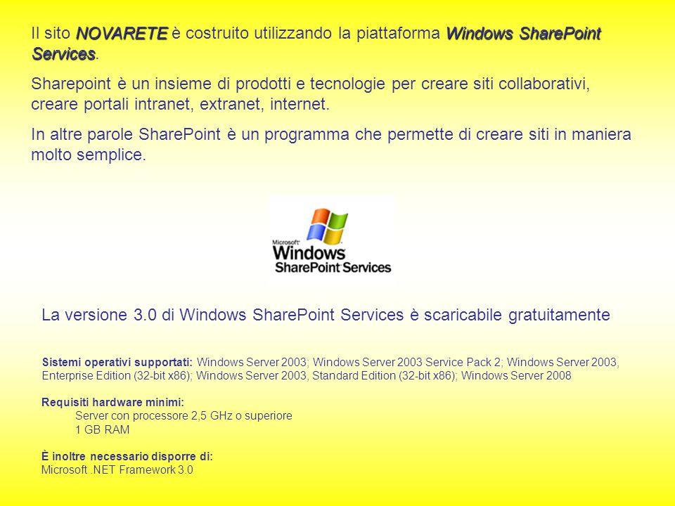 NOVARETEWindows SharePoint Services Il sito NOVARETE è costruito utilizzando la piattaforma Windows SharePoint Services. Sharepoint è un insieme di pr