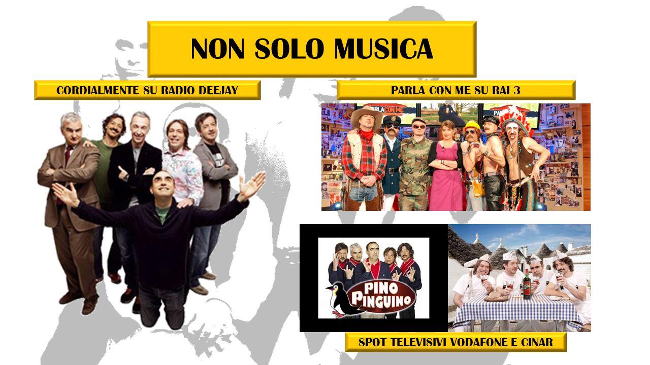 NON SOLO MUSICA CORDIALMENTE SU RADIO DEEJAYPARLA CON ME SU RAI 3 SPOT TELEVISIVI VODAFONE E CINAR