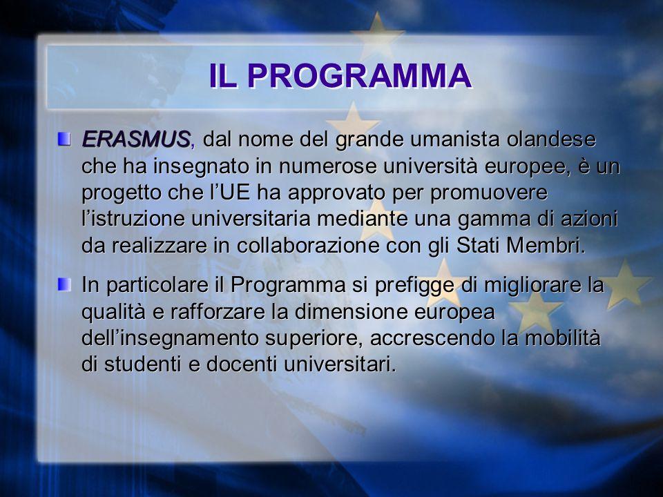 IL PROGRAMMA ERASMUS ERASMUS, dal nome del grande umanista olandese che ha insegnato in numerose università europee, è un progetto che l'UE ha approvato per promuovere l'istruzione universitaria mediante una gamma di azioni da realizzare in collaborazione con gli Stati Membri.