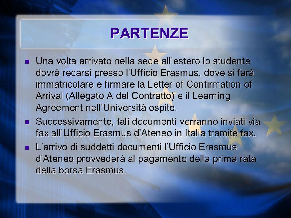 PARTENZE Una volta arrivato nella sede all'estero lo studente dovrà recarsi presso l'Ufficio Erasmus, dove si farà immatricolare e firmare la Letter of Confirmation of Arrival (Allegato A del Contratto) e il Learning Agreement nell'Università ospite.