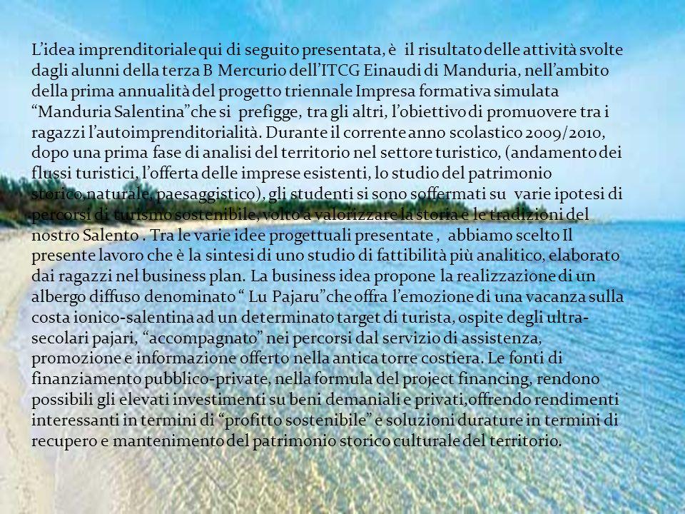 L'idea imprenditoriale qui di seguito presentata, è il risultato delle attività svolte dagli alunni della terza B Mercurio dell'ITCG Einaudi di Mandur