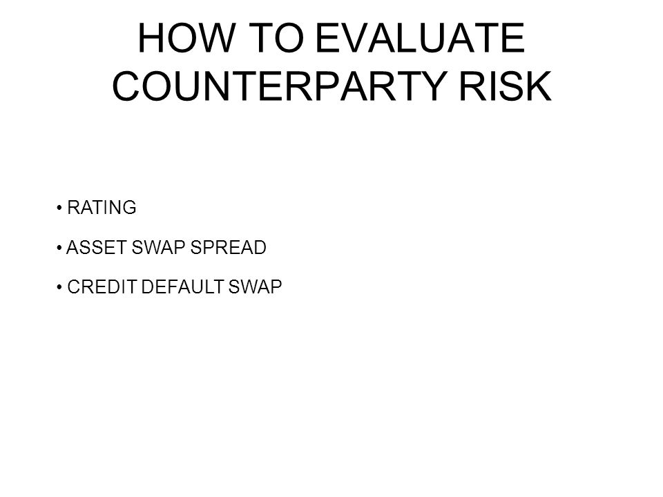 RATING ASSET SWAP SPREAD CREDIT DEFAULT SWAP HOW TO EVALUATE COUNTERPARTY RISK