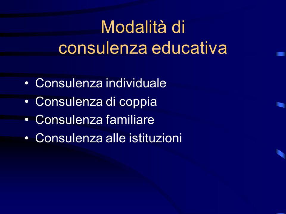 Obiettivi della consulenza educativa Aumentare la conoscenza di sé e l'autoconsapevolezza dell'utente; Sviluppare le risorse dell'utente; Promuovere l