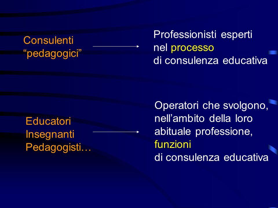 Consulenti pedagogici Professionisti esperti nel processo di consulenza educativa Educatori Insegnanti Pedagogisti… Operatori che svolgono, nell'ambito della loro abituale professione, funzioni di consulenza educativa