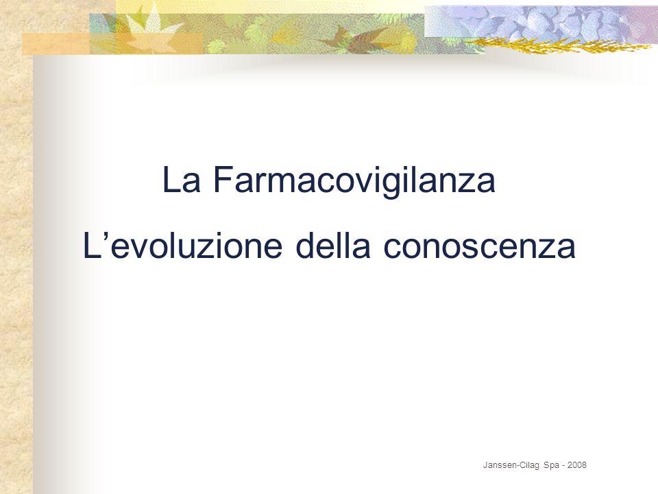 La Farmacovigilanza L'evoluzione della conoscenza Janssen-Cilag Spa - 2008