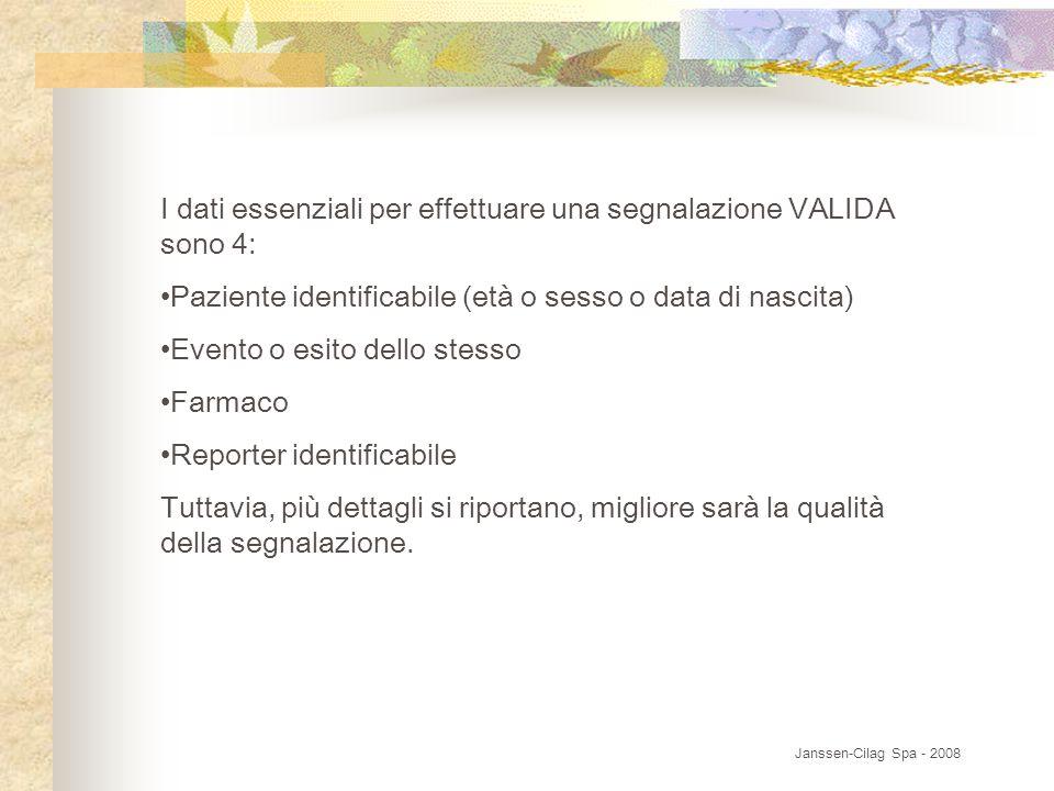 I dati essenziali per effettuare una segnalazione VALIDA sono 4: Paziente identificabile (età o sesso o data di nascita) Evento o esito dello stesso F