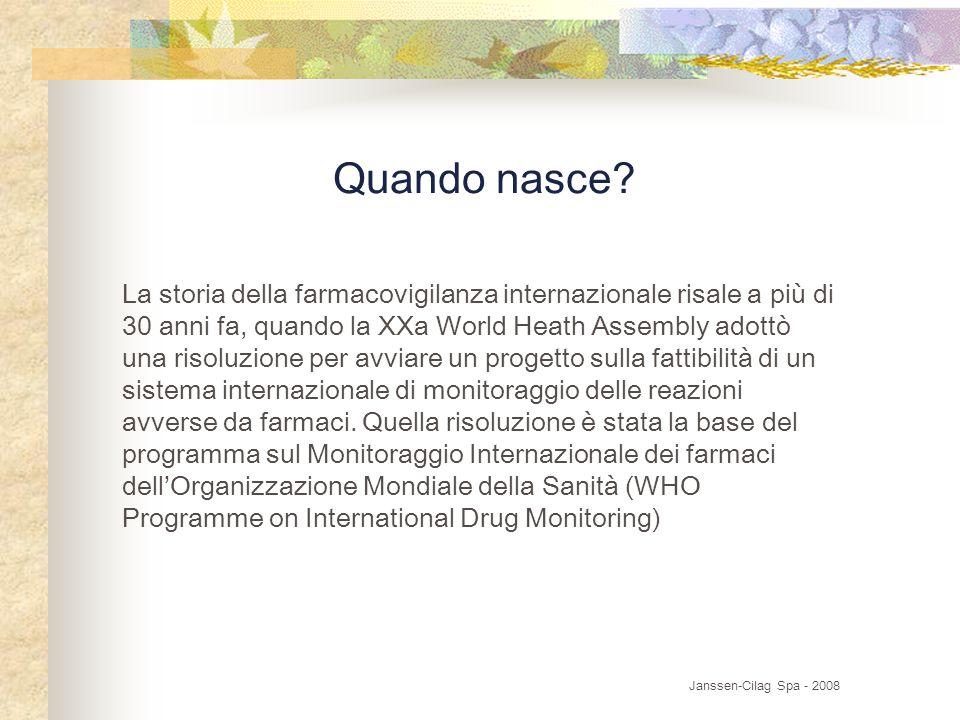 Quando nasce? La storia della farmacovigilanza internazionale risale a più di 30 anni fa, quando la XXa World Heath Assembly adottò una risoluzione pe