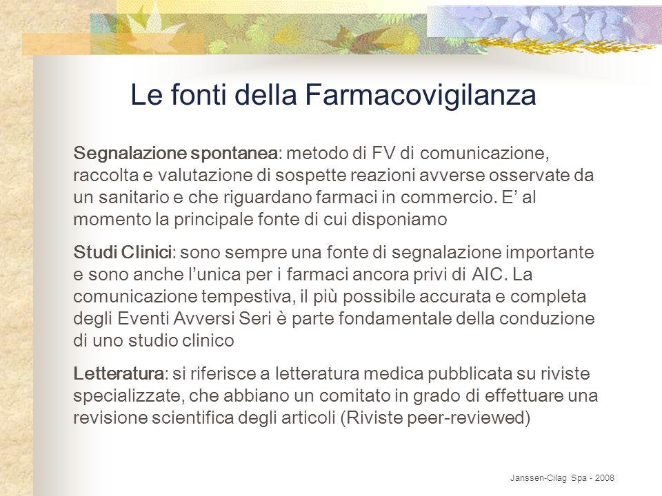 Le fonti della Farmacovigilanza Segnalazione spontanea: metodo di FV di comunicazione, raccolta e valutazione di sospette reazioni avverse osservate da un sanitario e che riguardano farmaci in commercio.
