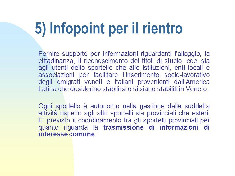 5) Infopoint per il rientro Fornire supporto per informazioni riguardanti l'alloggio, la cittadinanza, il riconoscimento dei titoli di studio, ecc.