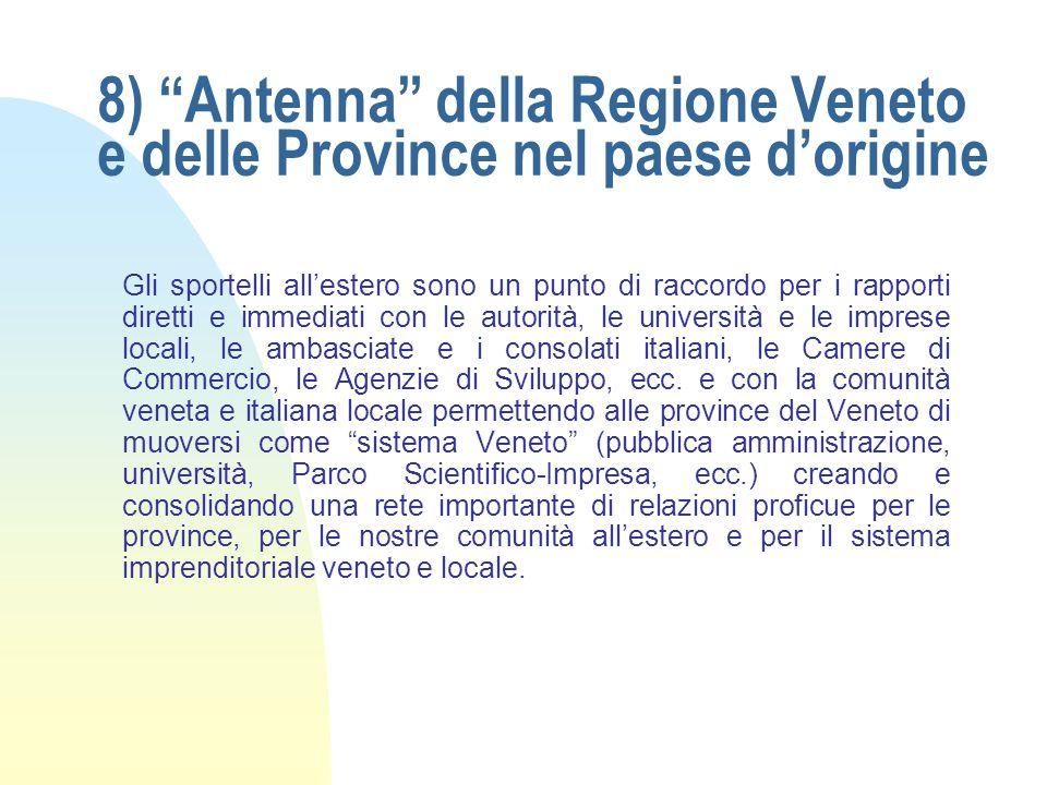 8) Antenna della Regione Veneto e delle Province nel paese d'origine Gli sportelli all'estero sono un punto di raccordo per i rapporti diretti e immediati con le autorità, le università e le imprese locali, le ambasciate e i consolati italiani, le Camere di Commercio, le Agenzie di Sviluppo, ecc.