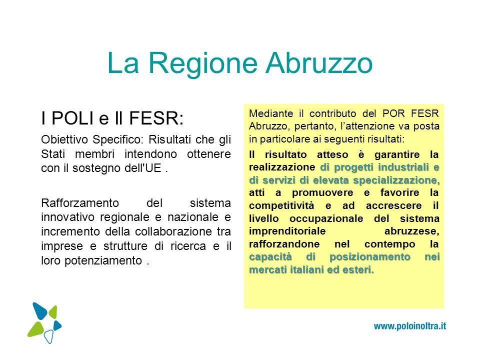 La Regione Abruzzo I POLI e Il FESR: Obiettivo Specifico: Risultati che gli Stati membri intendono ottenere con il sostegno dell UE.