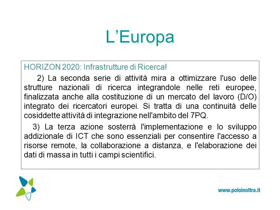 L'Europa HORIZON 2020: Infrastrutture di Ricerca.