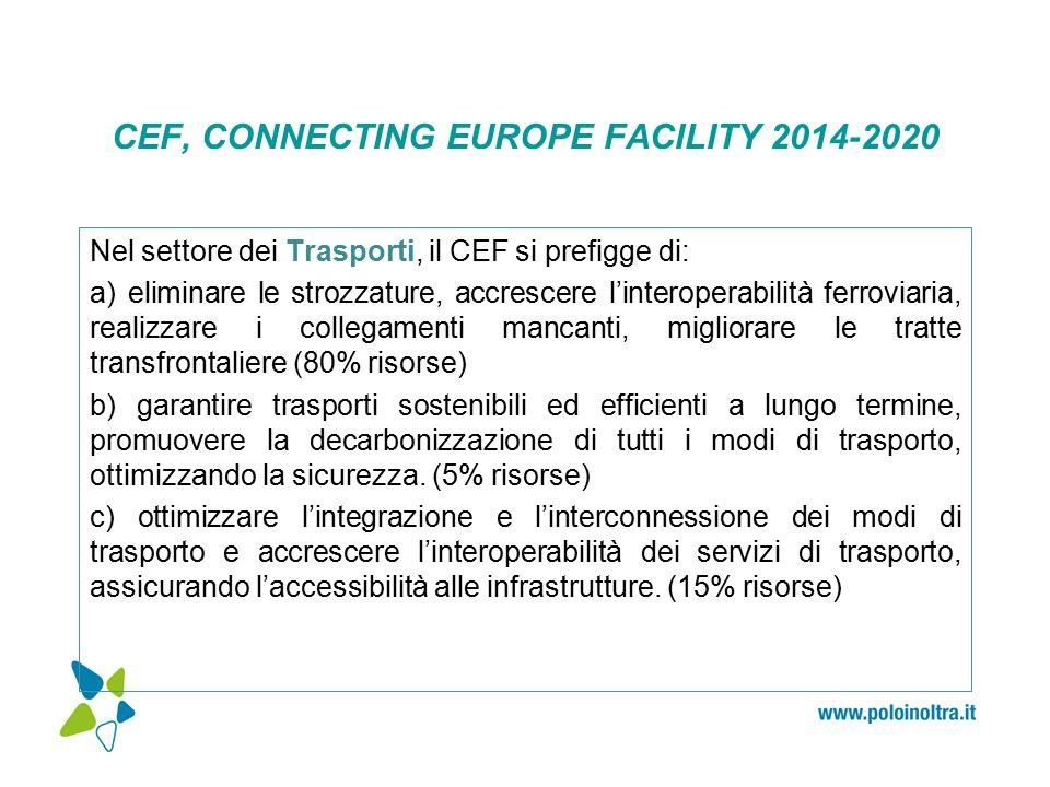 CEF, CONNECTING EUROPE FACILITY 2014-2020 Nel settore dei Trasporti, il CEF si prefigge di: a) eliminare le strozzature, accrescere l'interoperabilità ferroviaria, realizzare i collegamenti mancanti, migliorare le tratte transfrontaliere (80% risorse) b) garantire trasporti sostenibili ed efficienti a lungo termine, promuovere la decarbonizzazione di tutti i modi di trasporto, ottimizzando la sicurezza.