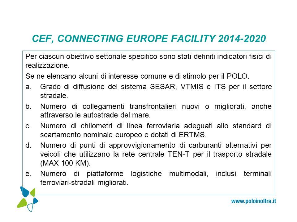 CEF, CONNECTING EUROPE FACILITY 2014-2020 Per ciascun obiettivo settoriale specifico sono stati definiti indicatori fisici di realizzazione.