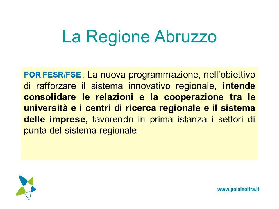 La Regione Abruzzo risorse umane altamente qualificate capacità brevettuale regionale saranno incentivate le imprese a sviluppare processi di R&S cooperativi, nonché le innovazioni avanzate dalle aggregazioni esistenti quali i Poli di Innovazione Il rapporto tra le PMI e gli organismi di ricerca dovrà concretizzarsi anche nell'incremento delle risorse umane altamente qualificate e delle competenze manageriali presenti nelle imprese.